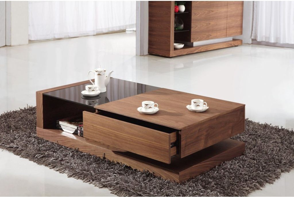 Merveilleux Contemporary With A Single Drawer Wood Coffee Table Designs
