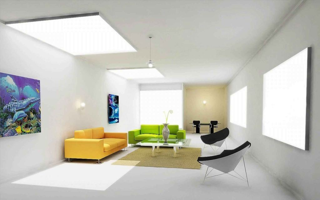 contemporary with bright color furnitures living room with skylight ideas