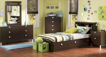 cool bedrooms for teenage guys with dark wood furnitures