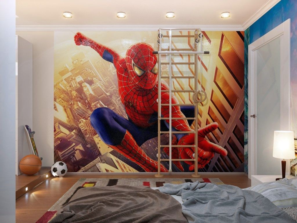 cool bedrooms for teenage guys with spiderman wallpaper