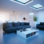 cool blue living room with skylight ideas