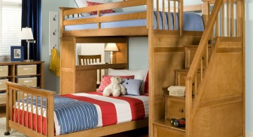 cool bunk bed designs with blue red and white stripes linen