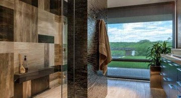 cool modern bathrooms in glass and wood theme