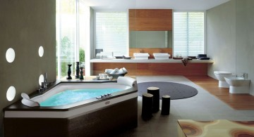 cool modern bathrooms with dark wood tub