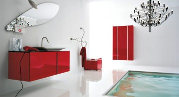 cool modern bathrooms with floor tub and red decoration