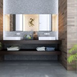 cool modern bathrooms with stone wall