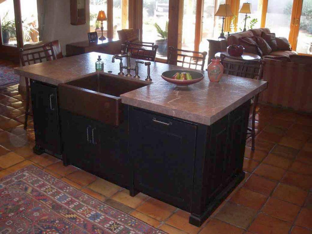 Cozy dark wood kitchen island with sink