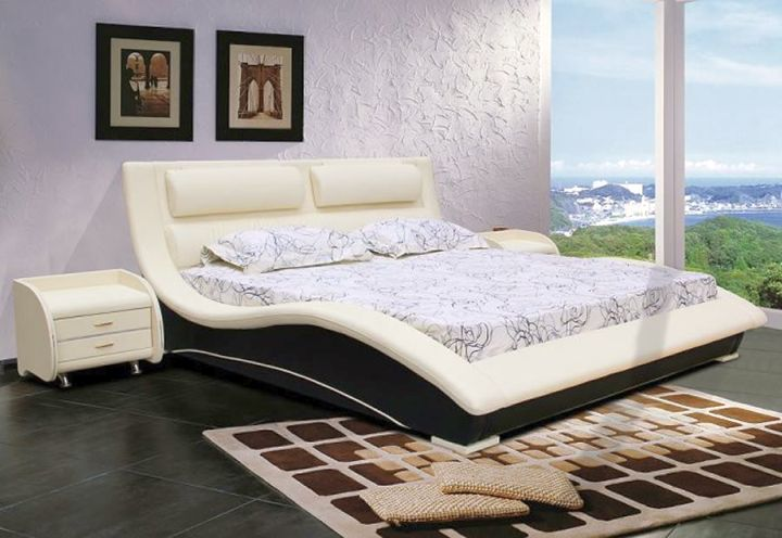 curved bed designs with tall headboard