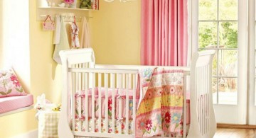 cute baby girl bedding ideas in bright colored flowers