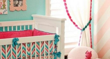 cute baby girl bedding ideas in bright pink and blue