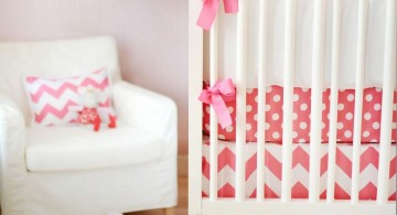cute baby girl bedding ideas in pink and white geometric shapes