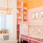cute baby girl bedding ideas in soft orange and pink