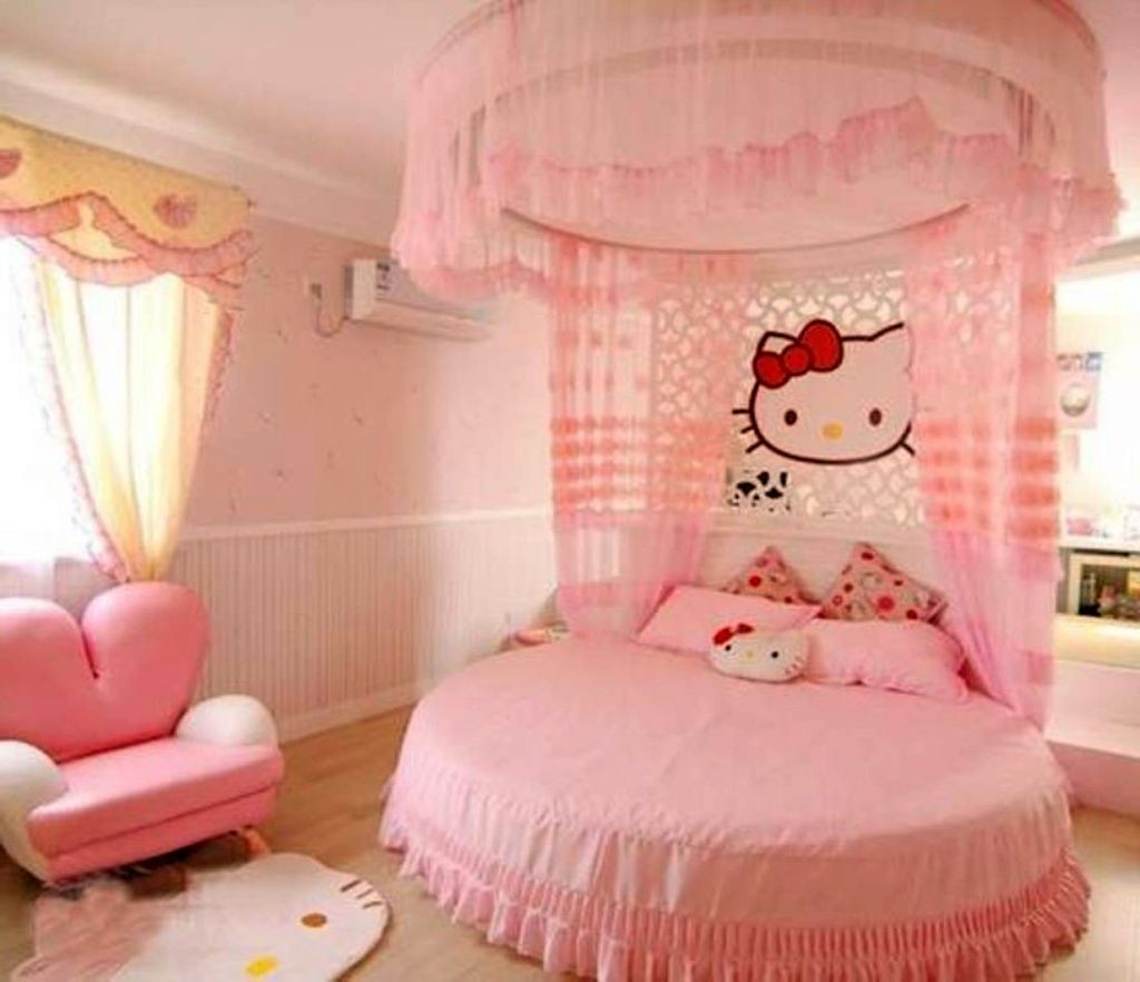 cute girls bedroom ideas with hello kitty theme and round bed