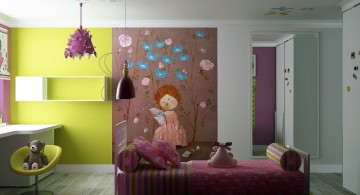 cute girls bedroom ideas with large wall decals