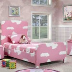 cute girls bedroom ideas with pink and white cloud pattern