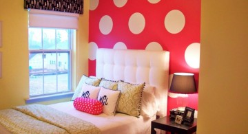 cute girls bedroom ideas with pink polkadot wall