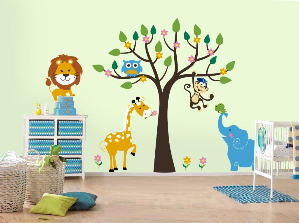 Cute Jungle Theme Kids Rooms Paint Ideas