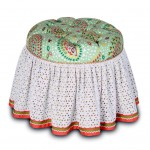 cute low vanity chair with skirt