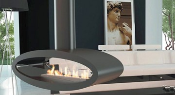 cute oval freestanding fireplaces designs