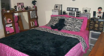 cute pink and black bedroom decor for more matured girl
