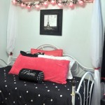 cute pink and black bedroom decor with black polkadot sheet and pink pillows