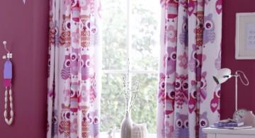 cute pink owl teenage girl curtain designs