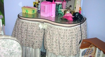 cute vanity chair with skirt that matches the vanity table