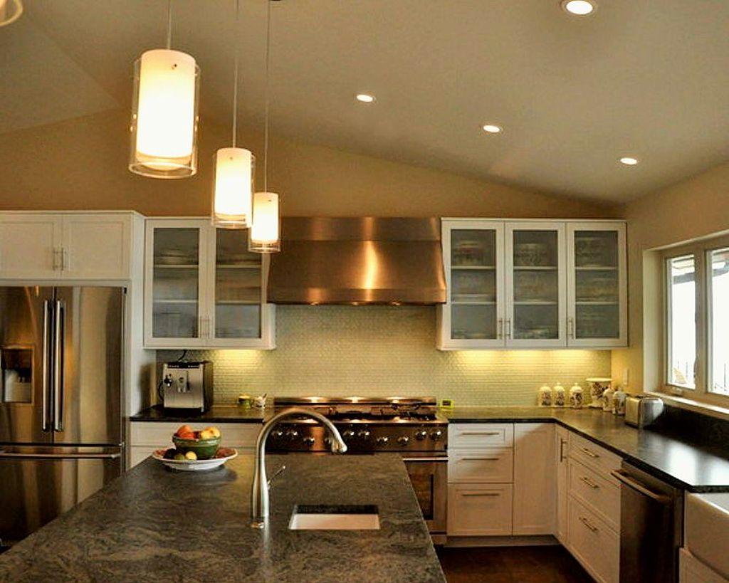 Cylindrical mini pendant lights over kitchen island for Pendant lights above kitchen island
