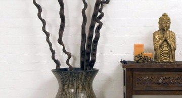 dark floor vase with branches