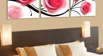 decadent roses painting pink and black wall decor