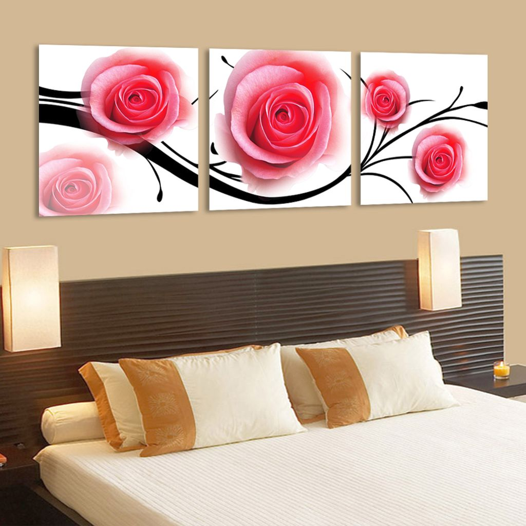Pink Black Wall Decor : Decadent roses painting pink and black wall decor
