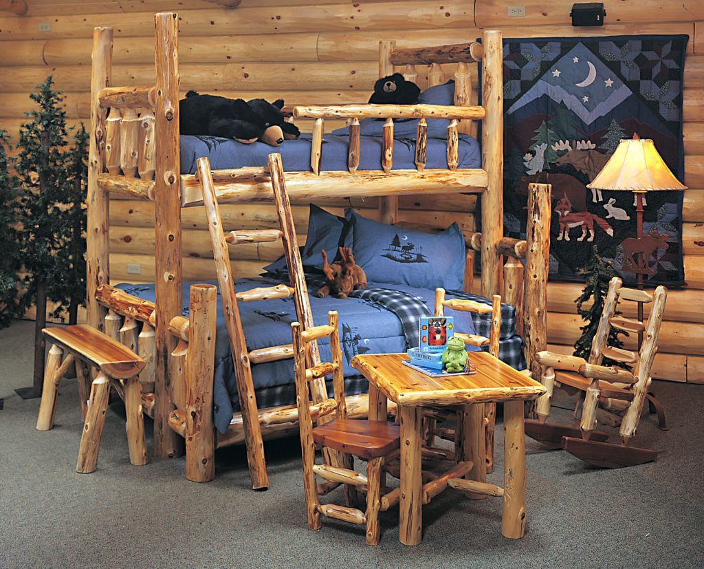 20 simple and neat cabin bedroom decorating ideas for Log cabin style bunk beds