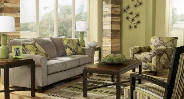 earth tone living room with a dash of green