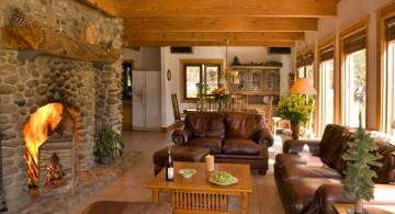 earth tone living room with stone fireplace