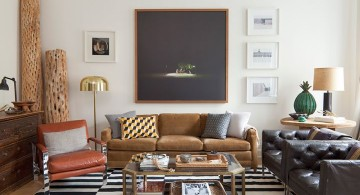 earth tone living room with striped rug