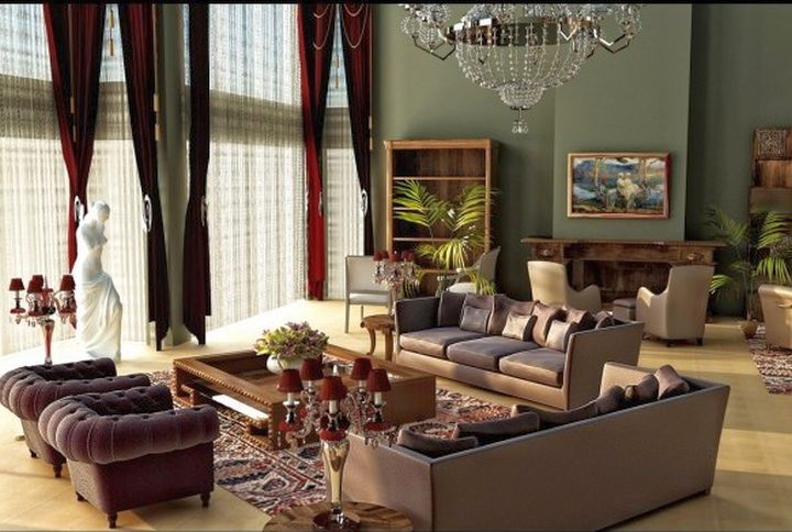 earth tone living room with tall french windows