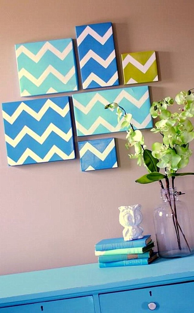 easy geometric wave pattern diy bedroom art