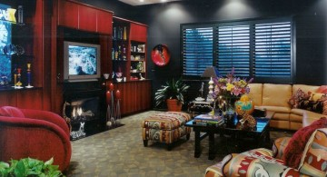 edgy entertainment room with black walls