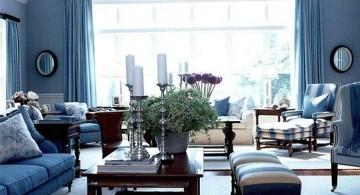 elegant blue and brown living room