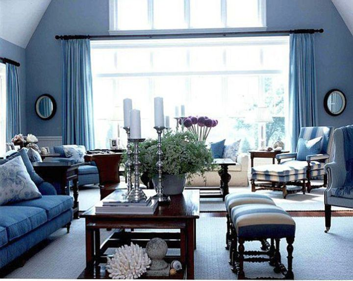 elegant blue and brown living room