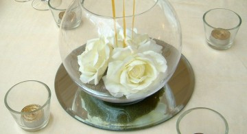 elegant bowl centerpiece ideas with white roses