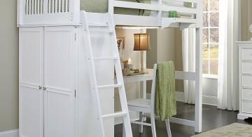 elegant loft bed with desk white