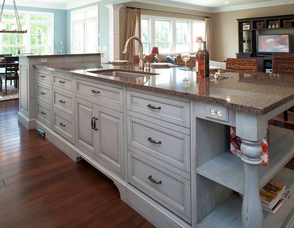 20 elegant designs of kitchen island with sink for Kitchen island cabinets