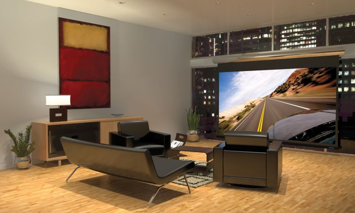 entertainment room with industrial sofa