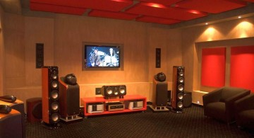 entertainment room with red ceiling and built in TV