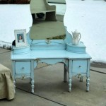 featured - vanity chair with skirt and blue vanity table
