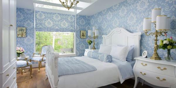 amusing light blue white feminine bedroom   20 Deluxe Blue and Gold Bedroom Designs