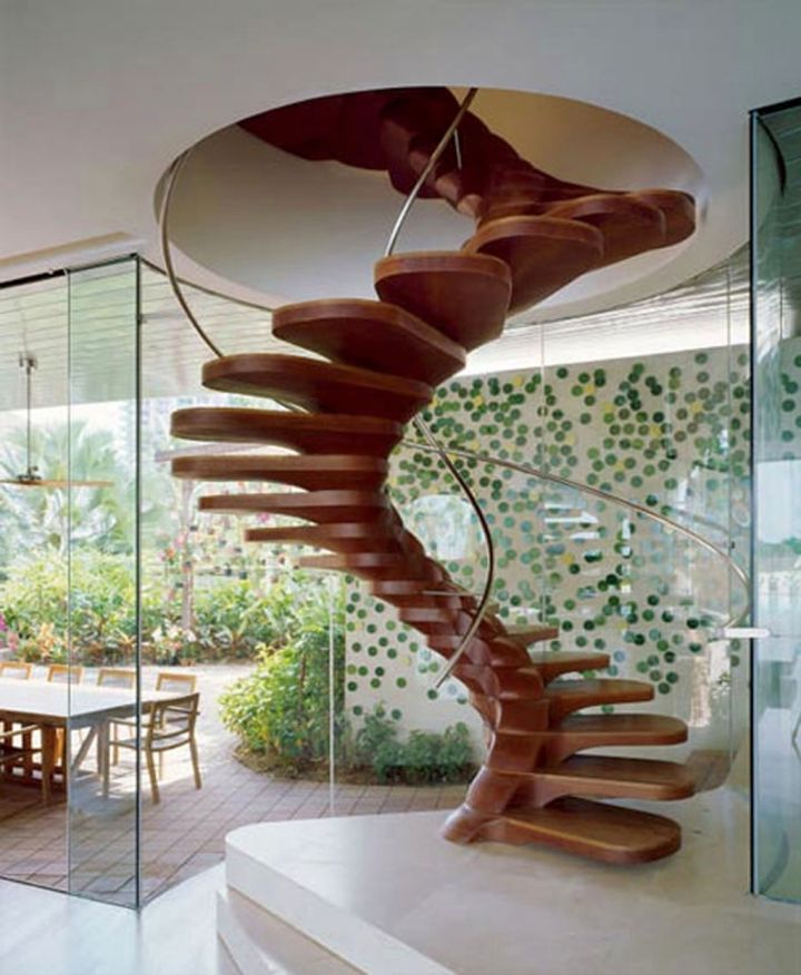 floating spiral wooden stairs