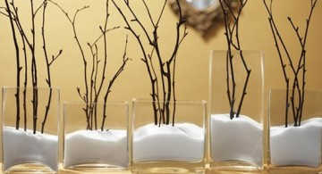 floor vases with branches and salt