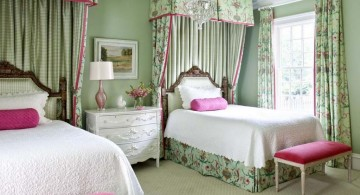 floral green and small canopy teenage girl curtain designs